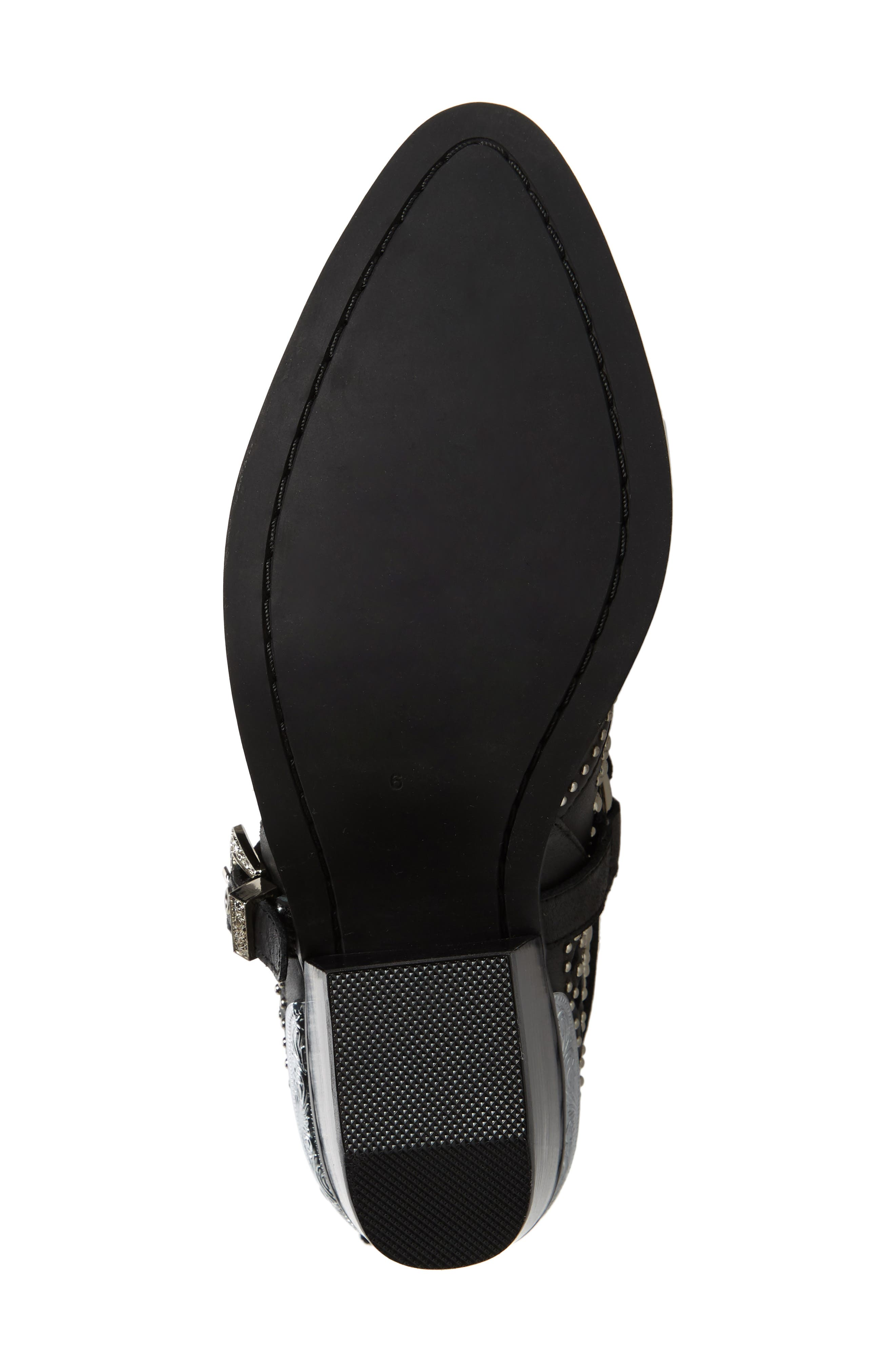 ,                             Wylie Studded Western Bootie,                             Alternate thumbnail 6, color,                             BLACK/ SILVER LEATHER