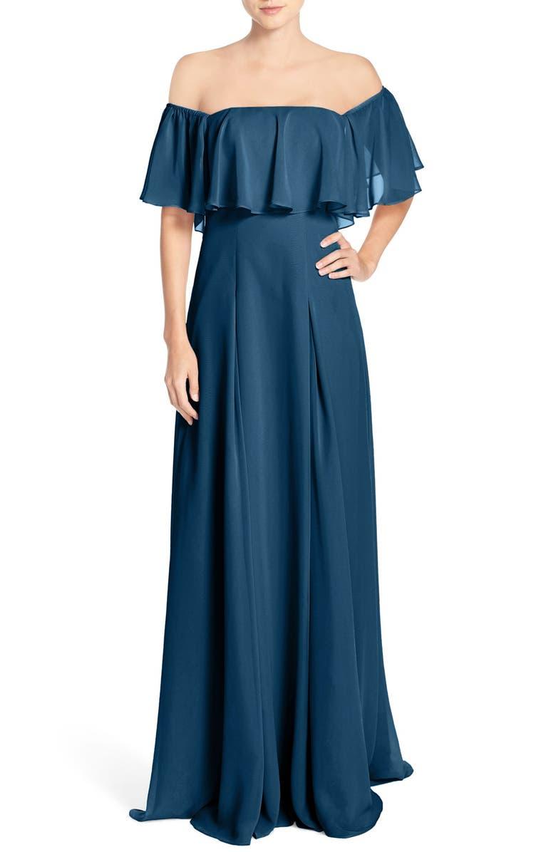 MONIQUE LHUILLIER BRIDESMAIDS Off the Shoulder Chiffon Gown, Main, color, 459