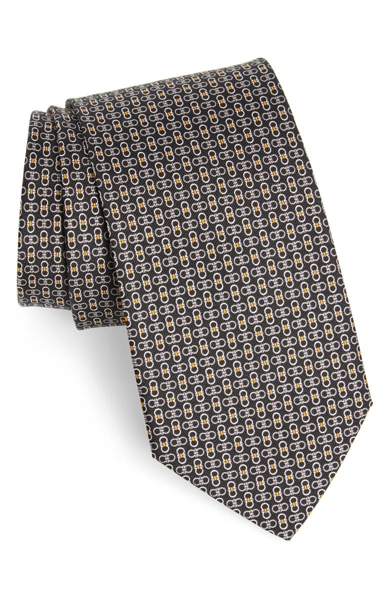 SALVATORE FERRAGAMO Enne Gancini Print Silk Tie, Main, color, F. NERO