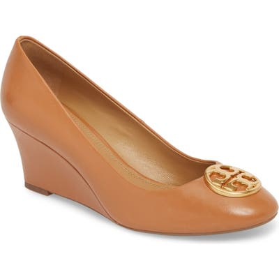 Tory Burch Chelsea Logo Medallion Wedge, Brown