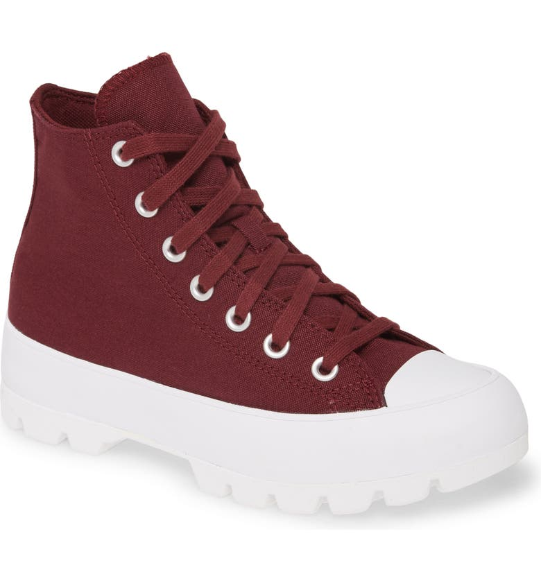 CONVERSE Chuck Taylor<sup>®</sup> All Star<sup>®</sup> High Top Lugged Sneaker Boot, Main, color, DARK BURGUNDY/ WHITE