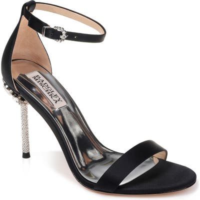 Badgley Mischka Vicia Crystal Embellished Heel Sandal- Black
