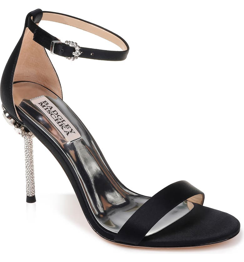 BADGLEY MISCHKA COLLECTION Badgley Mischka Vicia Crystal Embellished Heel Sandal, Main, color, BLACK SATIN