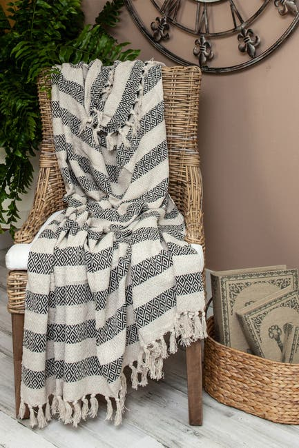 "Image of Parkland Collection Rosie Transitional Beige 52"" x 67"" Woven Handloom Throw"