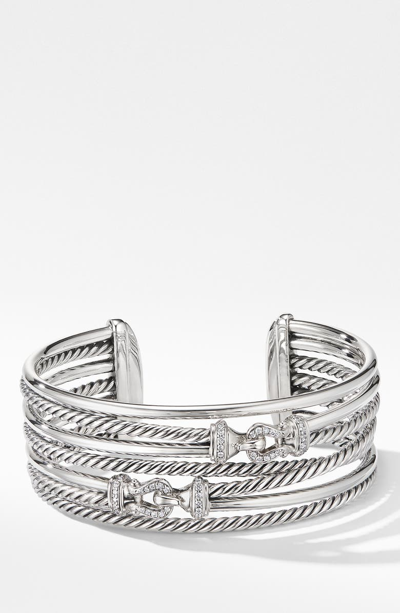DAVID YURMAN Buckle Crossover Cuff Bracelet with Diamonds, Main, color, SILVER/ DIAMOND