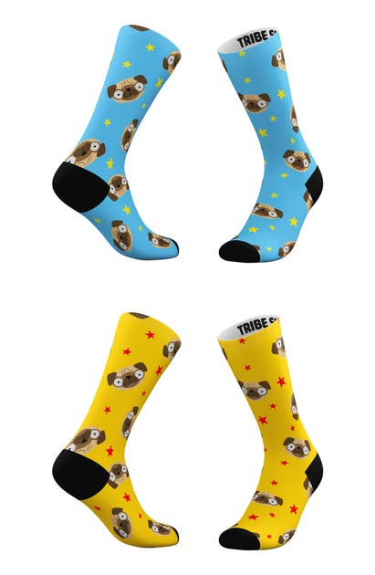 Tribe Socks ASSORTED 2-PACK BLUE & YELLOW PUG EMOJI CREW SOCKS