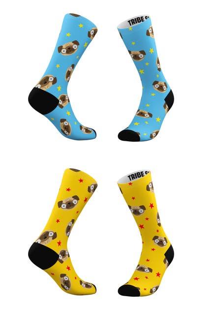 Tribe Socks Socks ASSORTED 2-PACK BLUE & YELLOW PUG EMOJI CREW SOCKS