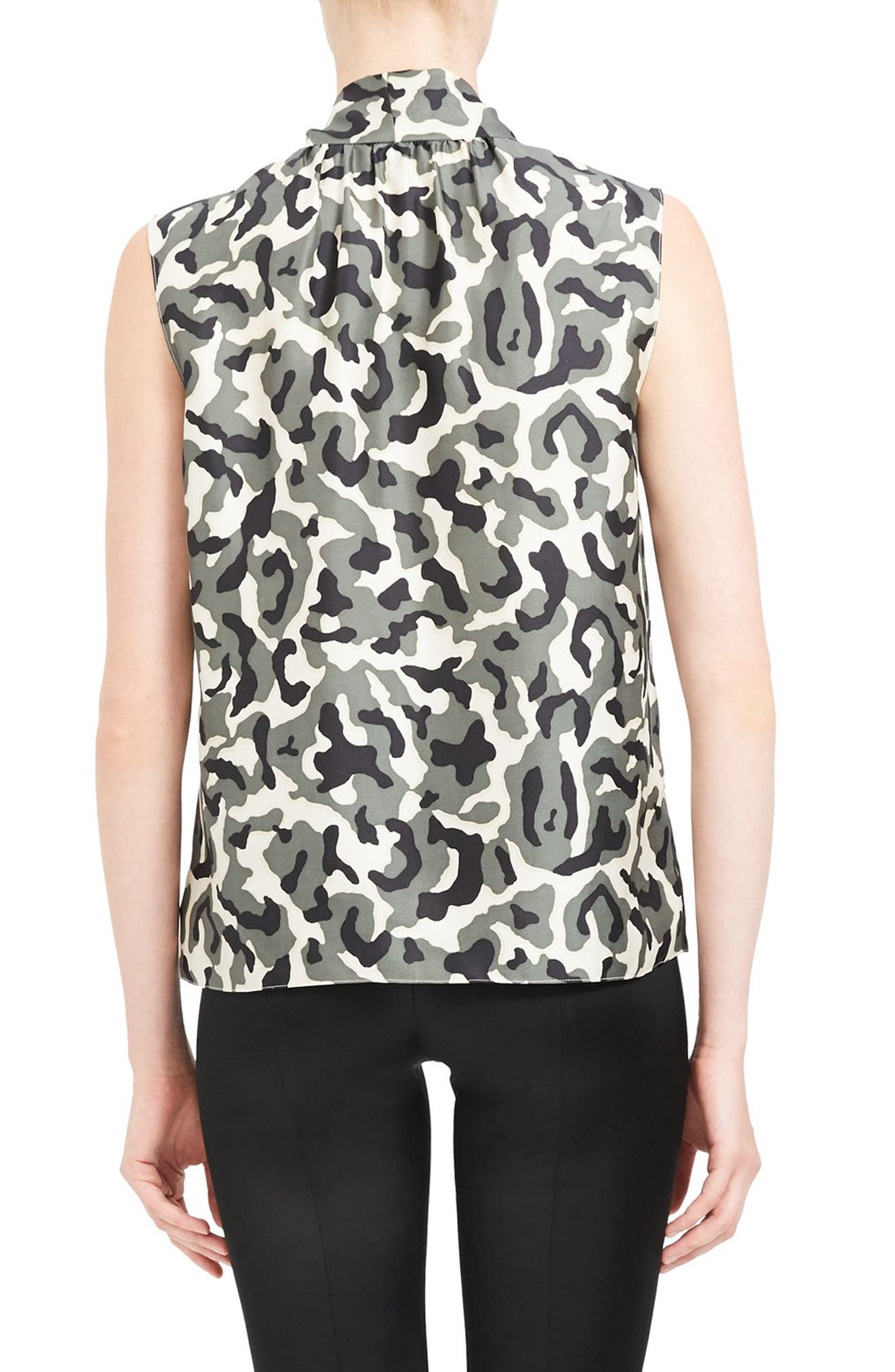 Theory Tops Camo Print Tie Neck Sleeveless Silk Blouse
