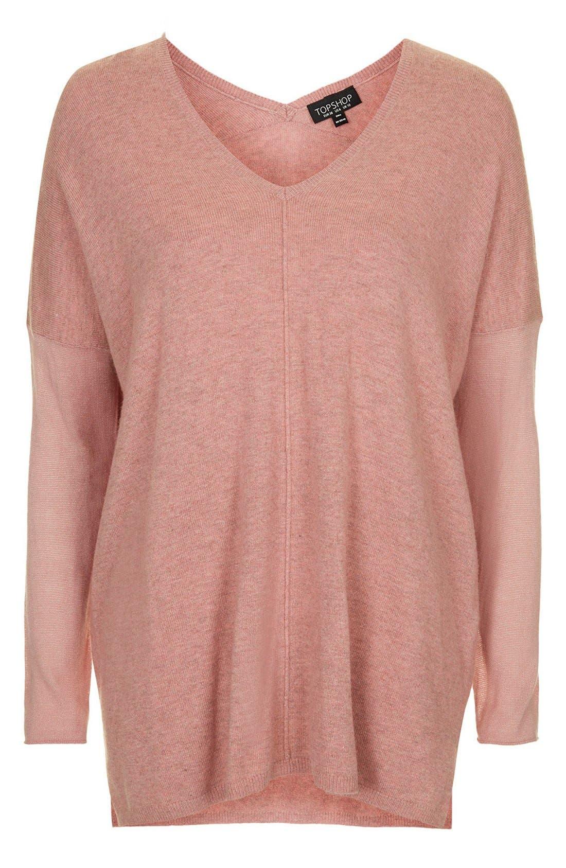 ,                             Front Seam V-Neck Sweater,                             Alternate thumbnail 8, color,                             651