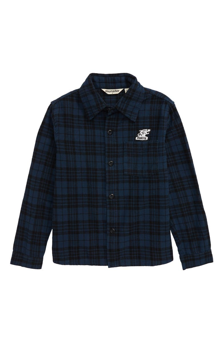 MUNSTERKIDS Niseiko Flannel Button-Up Shirt, Main, color, BLUE
