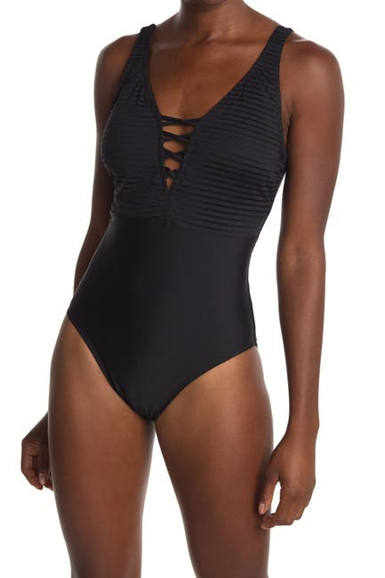 Image of Athena Parallel Lines One Piece Swimsuit