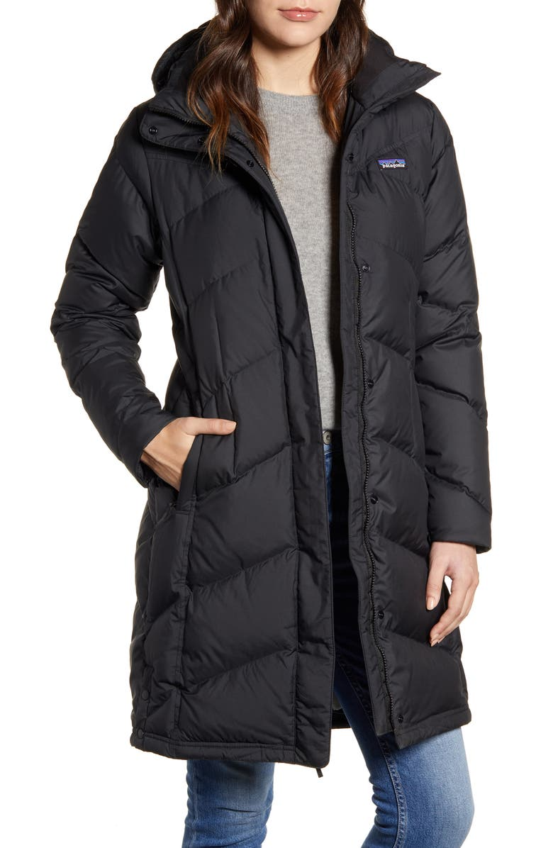 PATAGONIA Down With It Hooded Down Parka, Main, color, BLACK