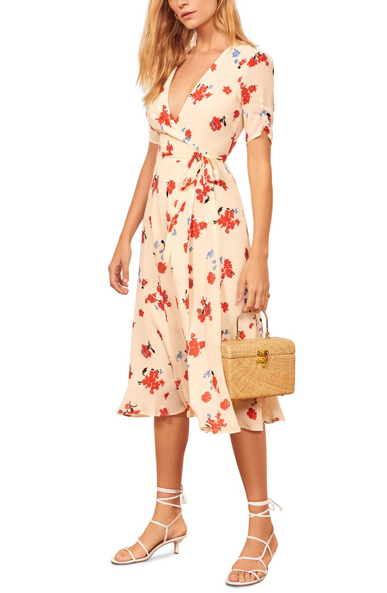REFORMATION Napa Wrap Midi Dress, Main, color, CHAGALL