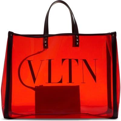 Valentino Garavani Large Grande Plage Vltn Logo Clear Tote - Red