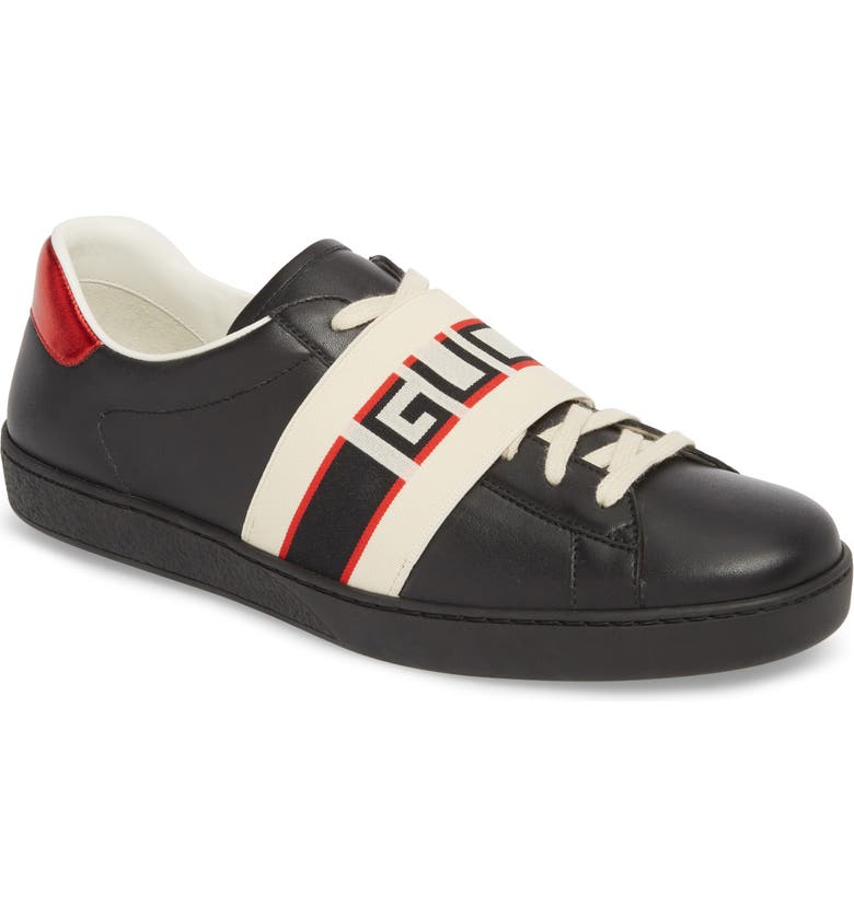GUCCI New Ace Stripe Leather Sneaker, Main, color, BLACK