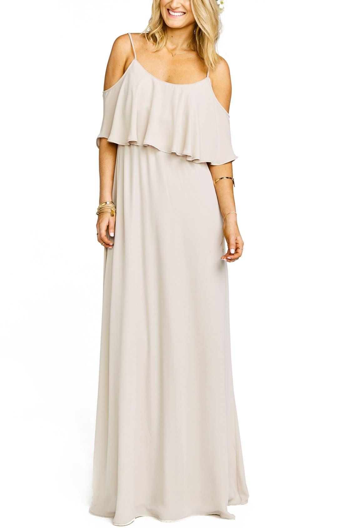 Show Me Your Mumu Caitlin Cold Shoulder Chiffon Gown, Beige