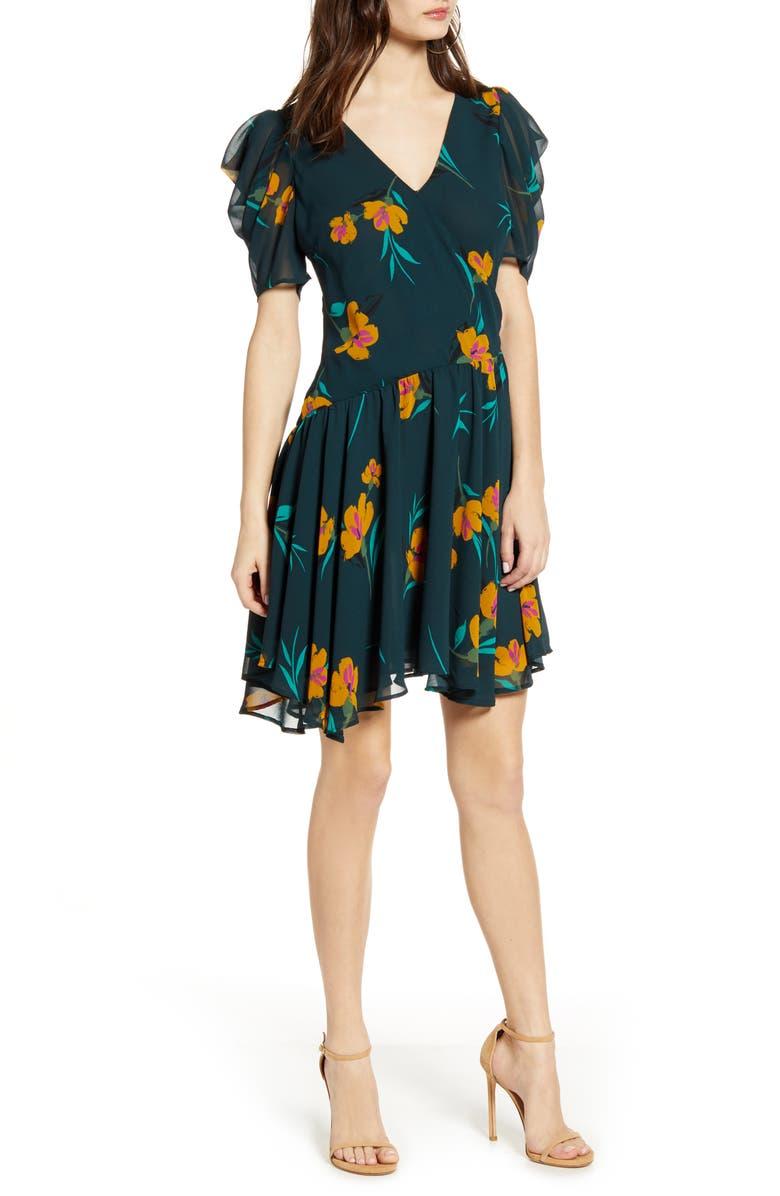 ASTR THE LABEL Floral Print Minidress, Main, color, GREEN FLORAL