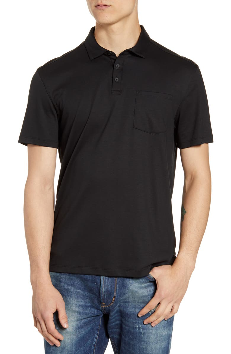 JOHN VARVATOS STAR USA Burlington Classic Fit Cotton Polo Shirt, Main, color, 001