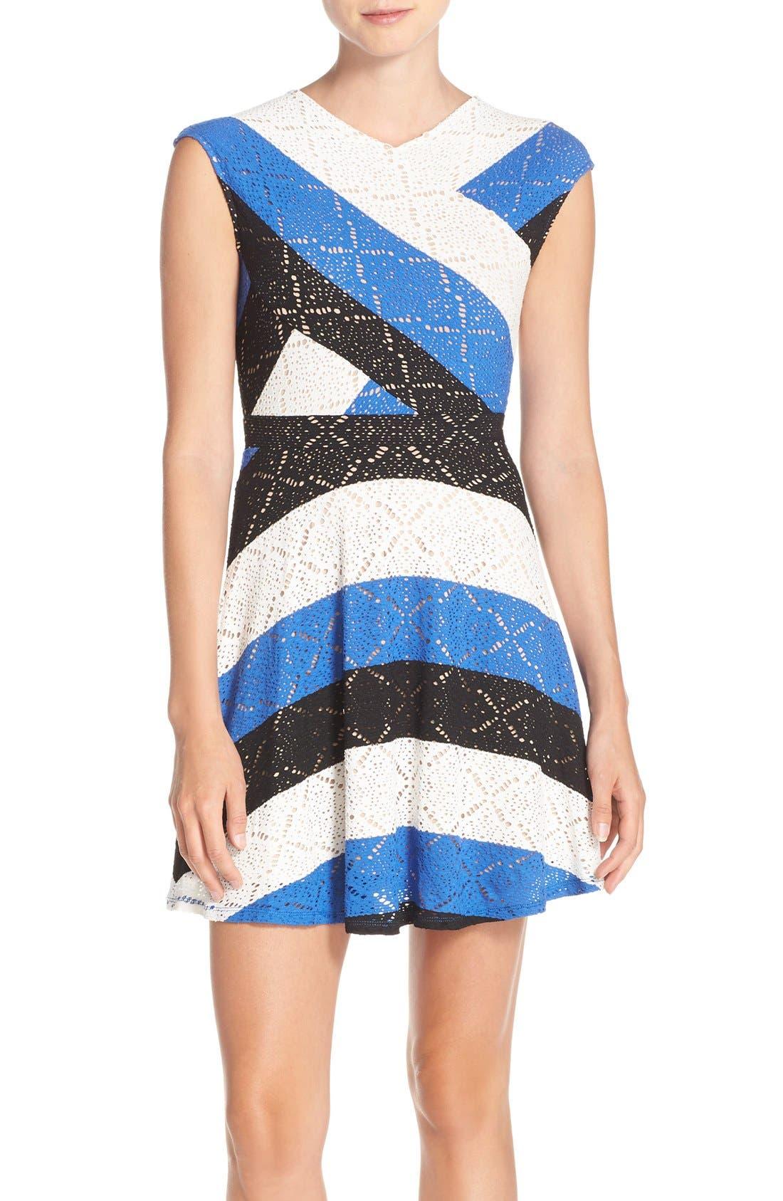 'Jasmyne' Stripe Lace Dress, Main, color, 475