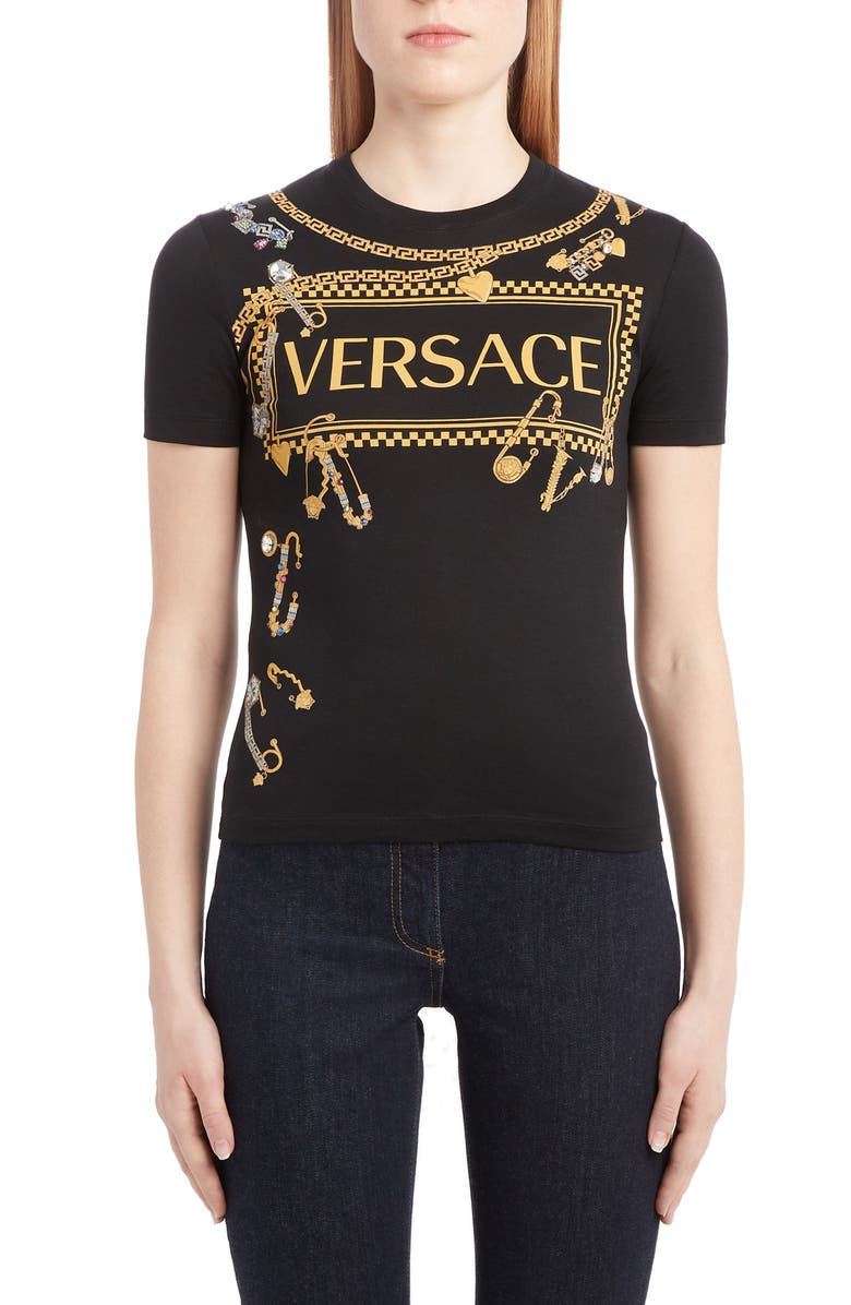 VERSACE Safety Pin Graphic Tee, Main, color, BLACK