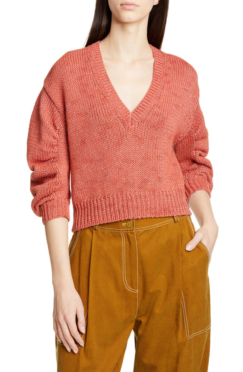 ULLA JOHNSON Tunis Metallic Sweater, Main, color, CORAL