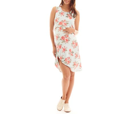 Everly Grey Marta Floral Maternity/nursing Dress, Blue