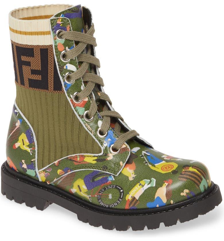 FENDI Lace-Up Boot, Main, color, PRINT