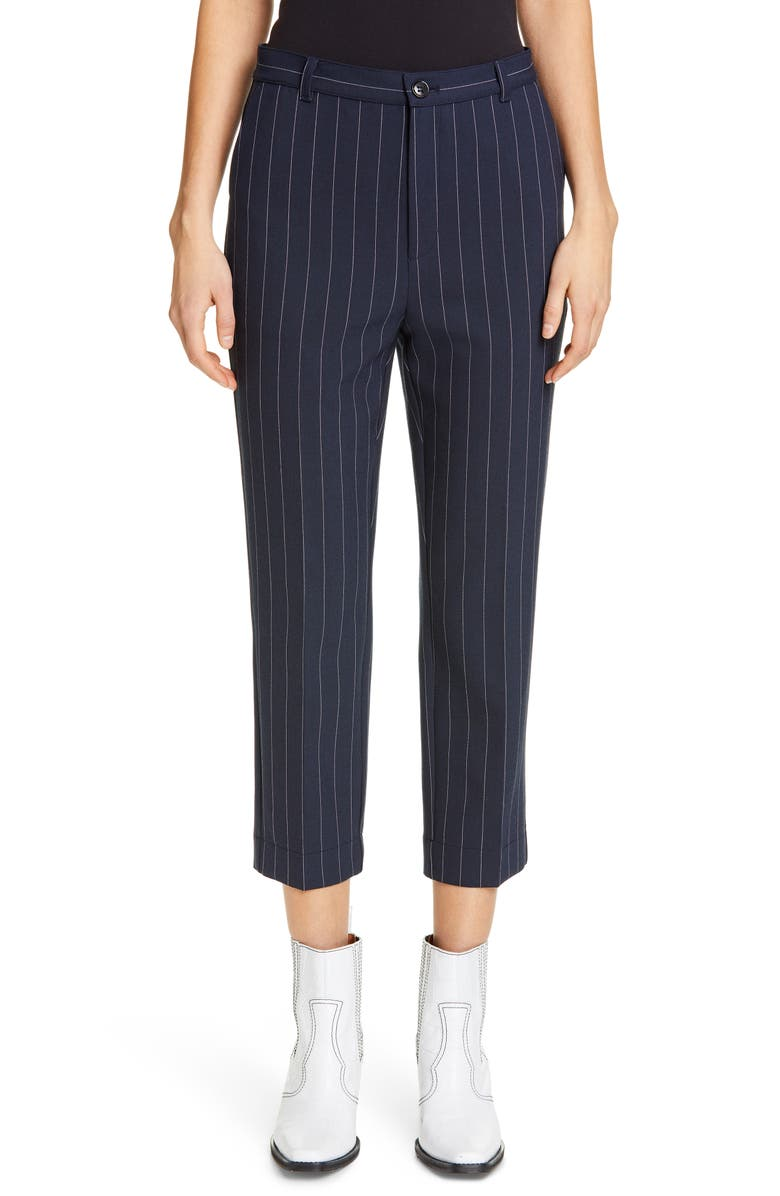 GANNI Stripe Suiting Pants, Main, color, TOTAL ECLIPSE