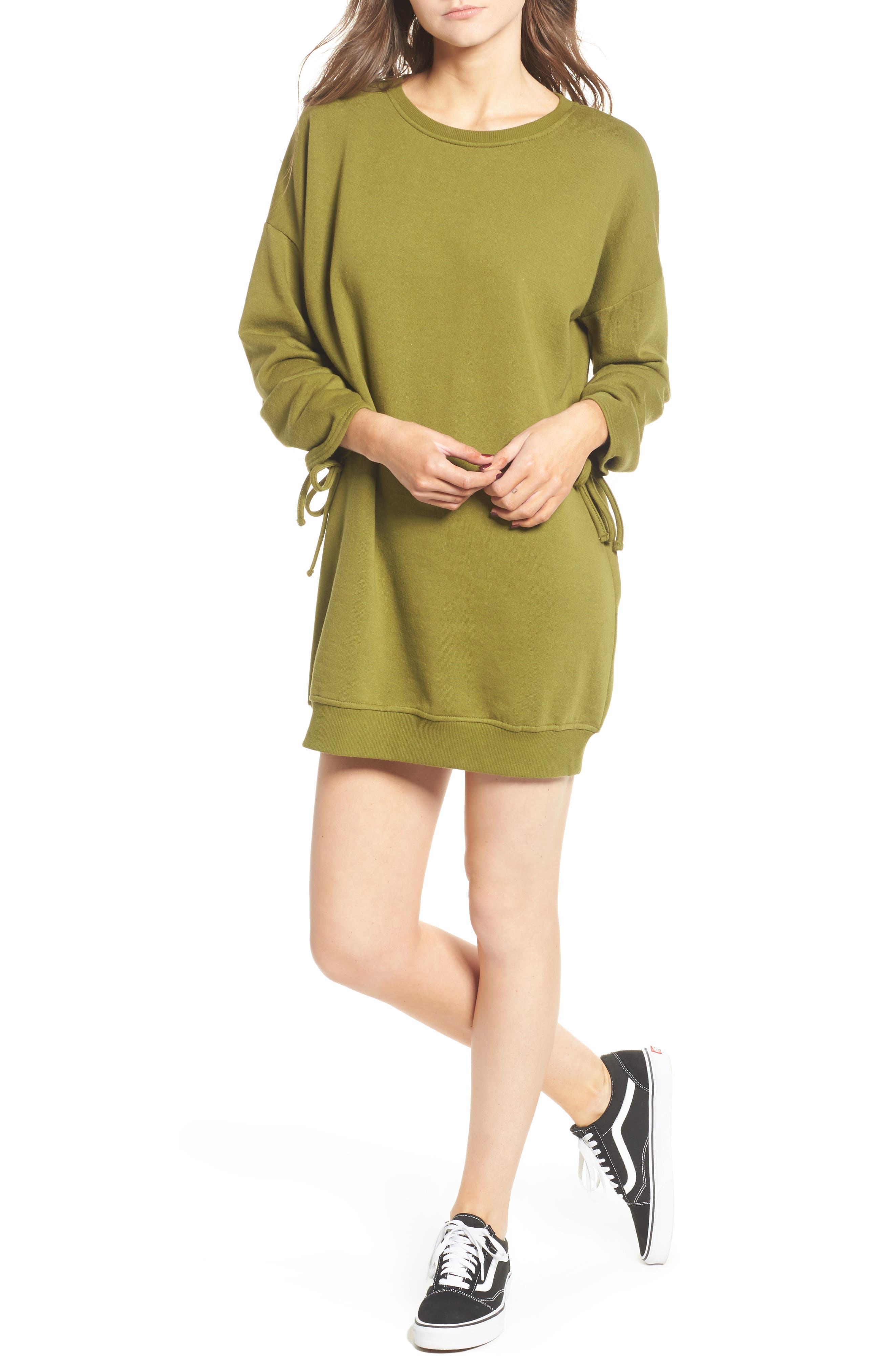 ,                             Ruched Sleeve Sweatshirt Dress,                             Main thumbnail 7, color,                             300