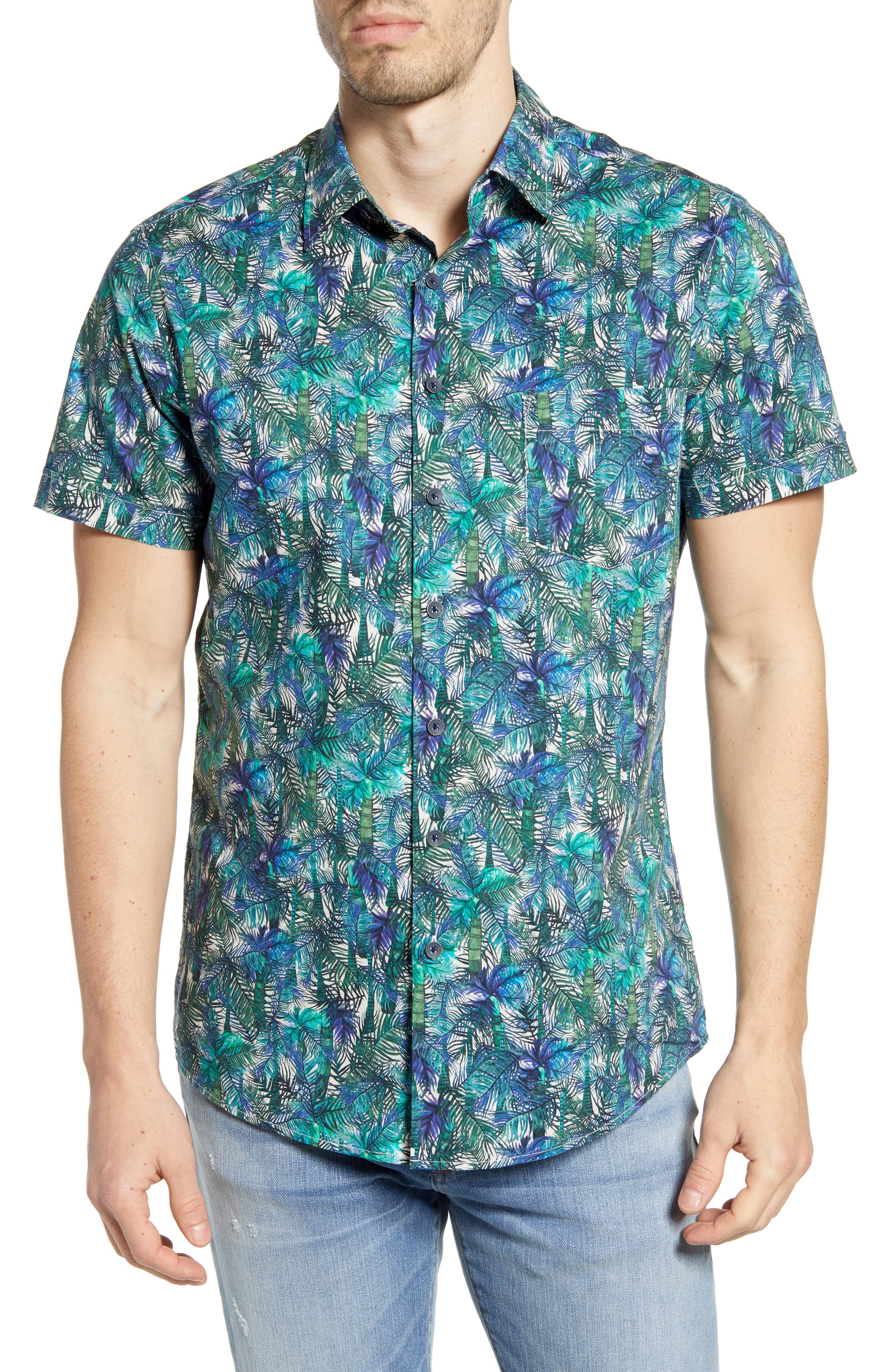 RODD AND GUNN Collins Bay Tropical Print Short Sleeve Button-Up Shirt at Nordstrom Rack