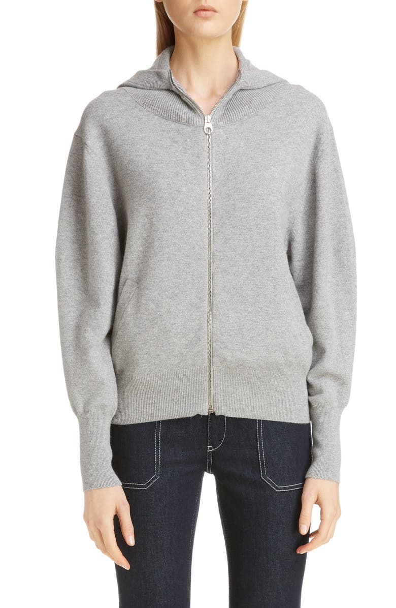 CHLOÉ Cashmere Blend Hoodie, Main, color, SWAN GREY