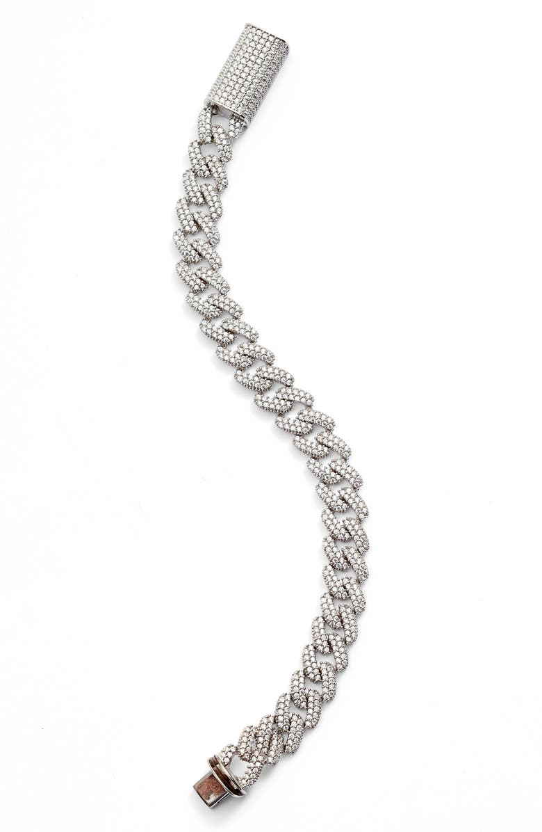 ADINA'S JEWELS Adina's Jewels Pavé Chain Link Bracelet, Main, color, SILVER