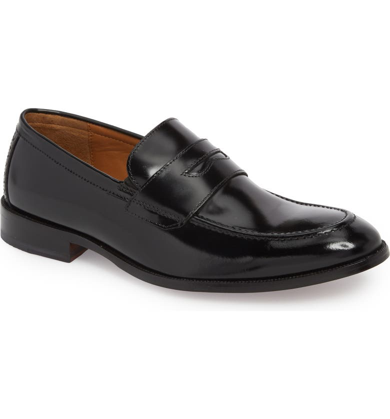 JOHNSTON & MURPHY Bradford Penny Loafer, Main, color, BLACK LEATHER