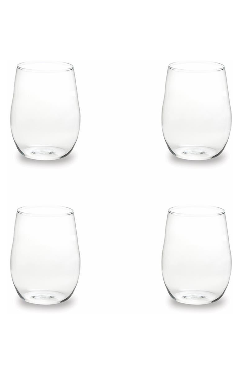 ROSANNA Set of 4 Stemless Wine Glasses, Main, color, GLASS