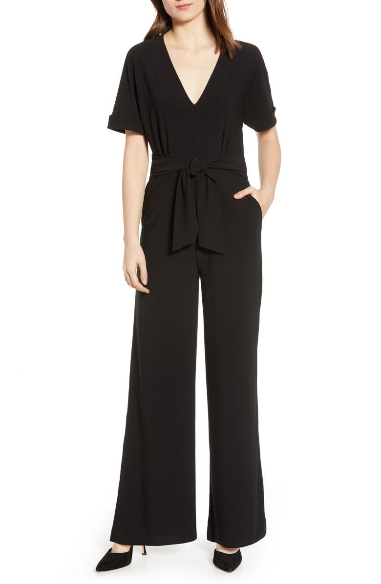 CHELSEA28 V-Neck Knit Jumpsuit, Main, color, 001
