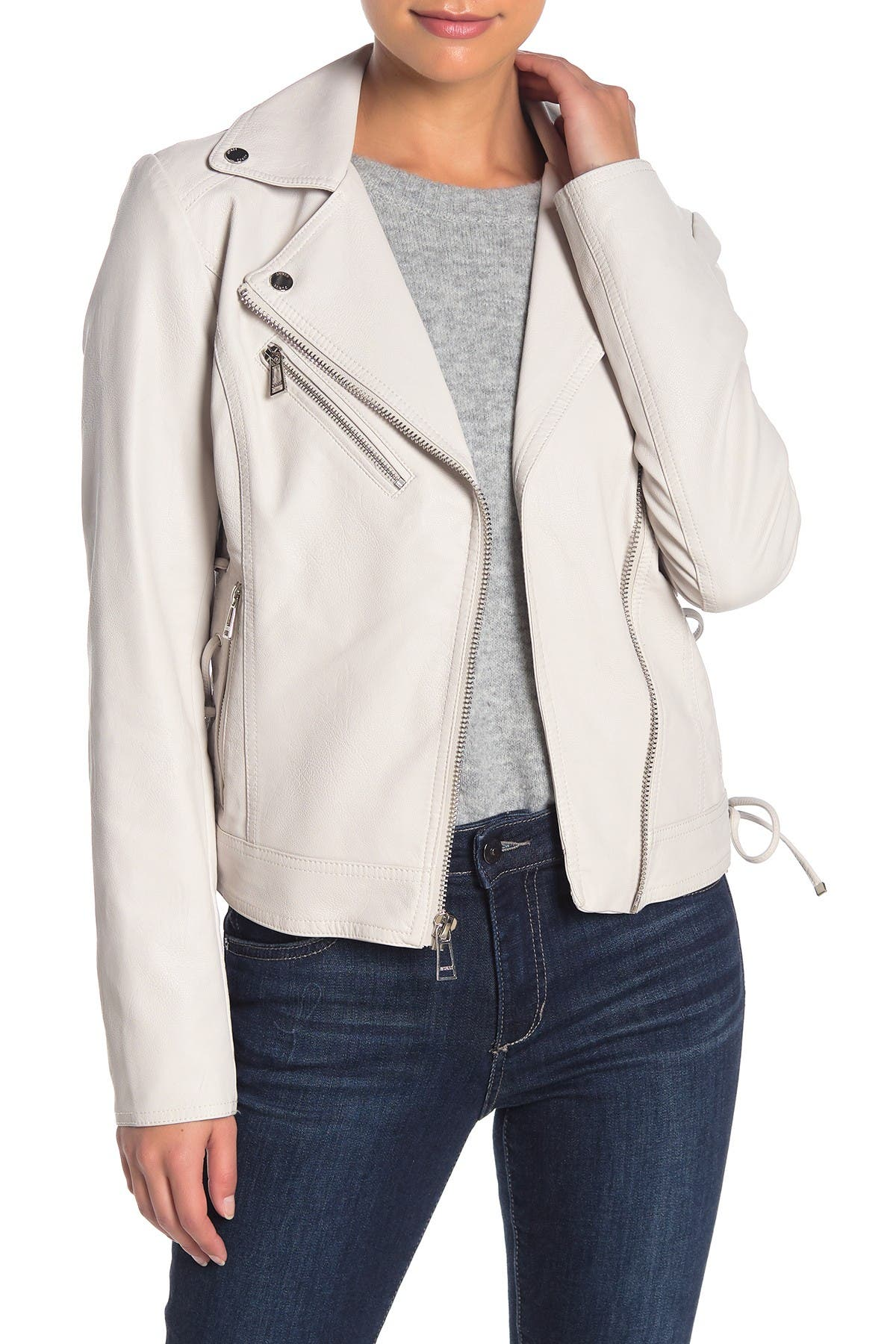 Image of GUESS Side Lace-Up Faux Leather Jacket