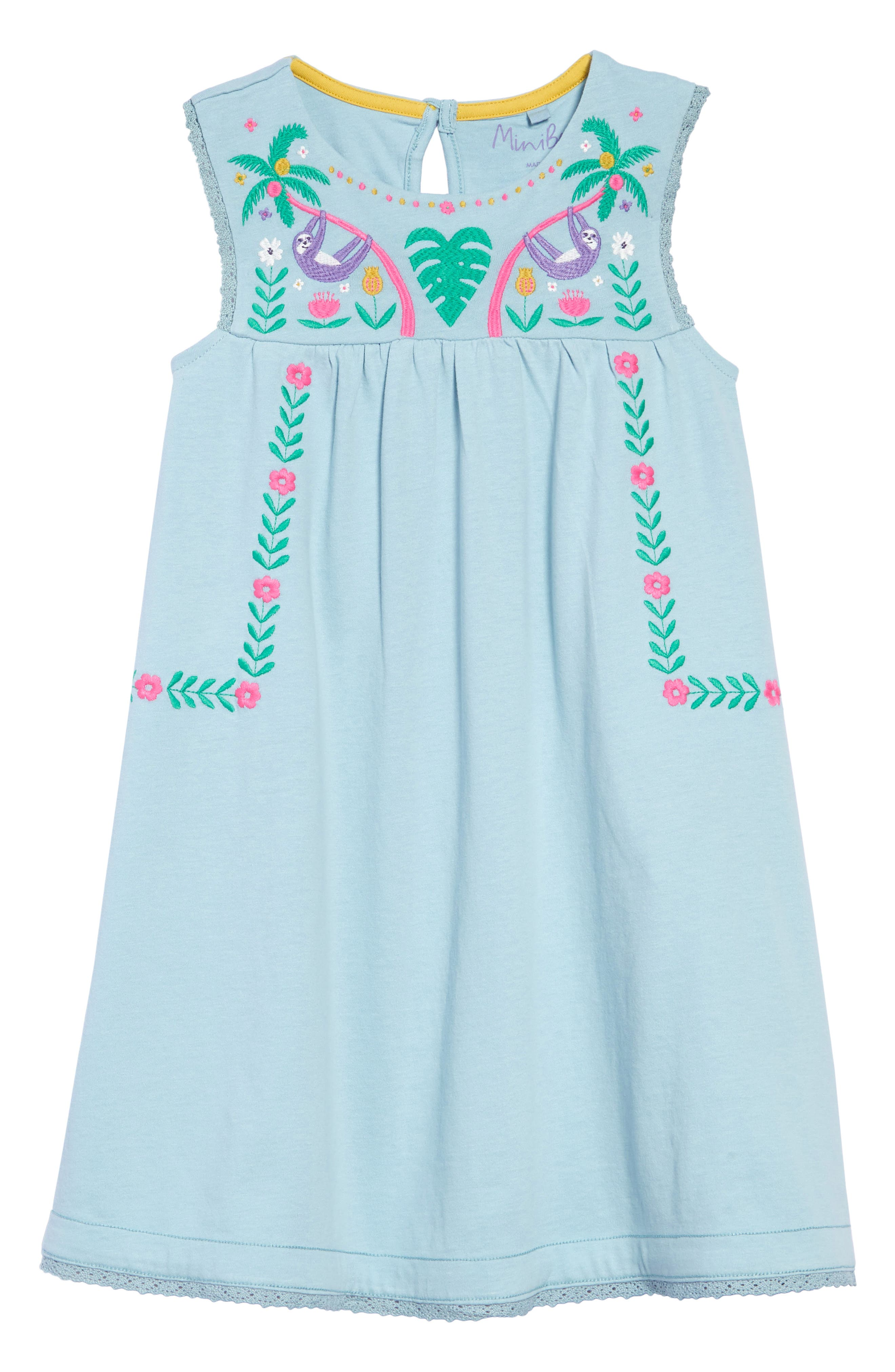2c0aa6c3ddf8 Girl's Mini Boden Embroidered Jersey Dress,6Y - Blue