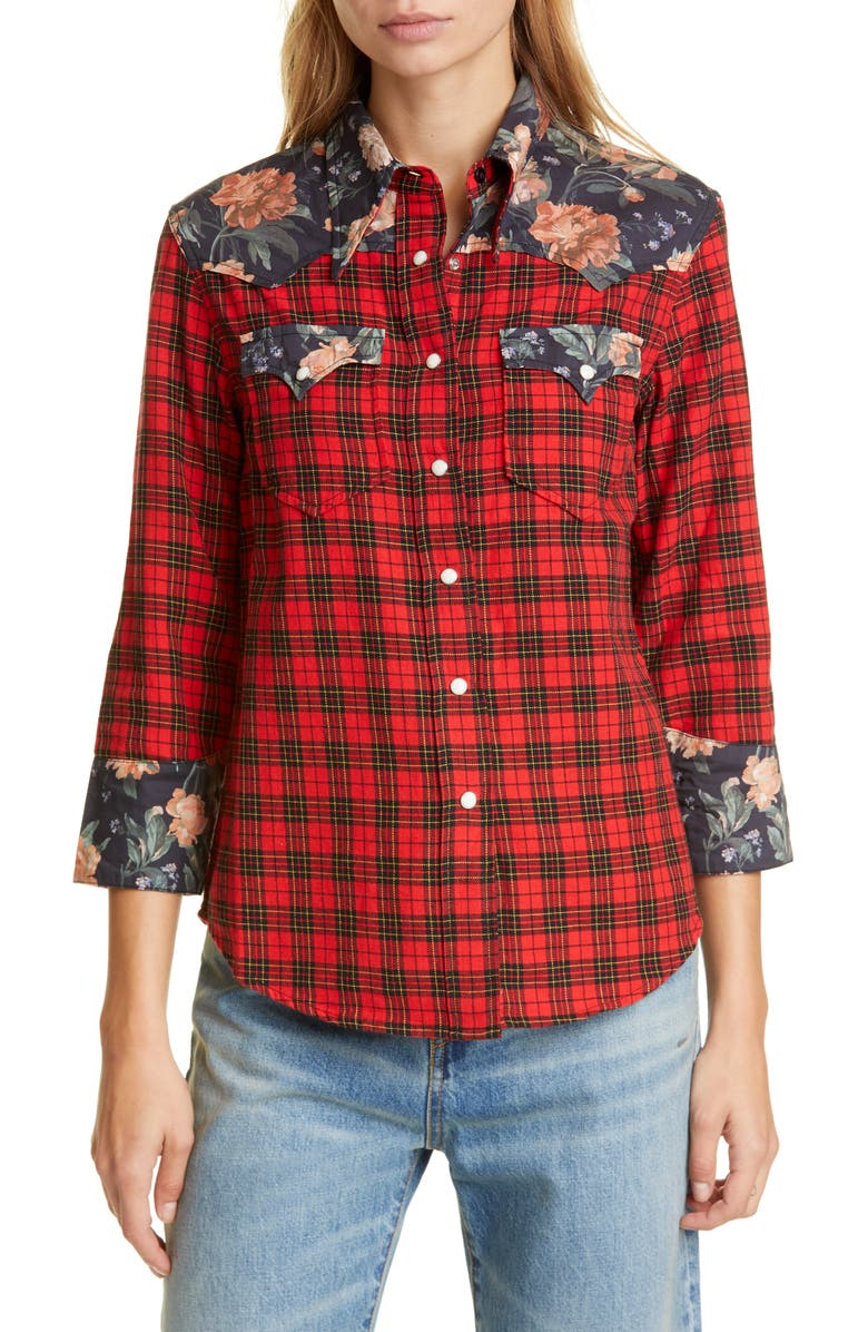 R13 Exaggerated Collar Mixed Print Cowboy Shirt, Main, color, RED W/ BLACK FLORAL
