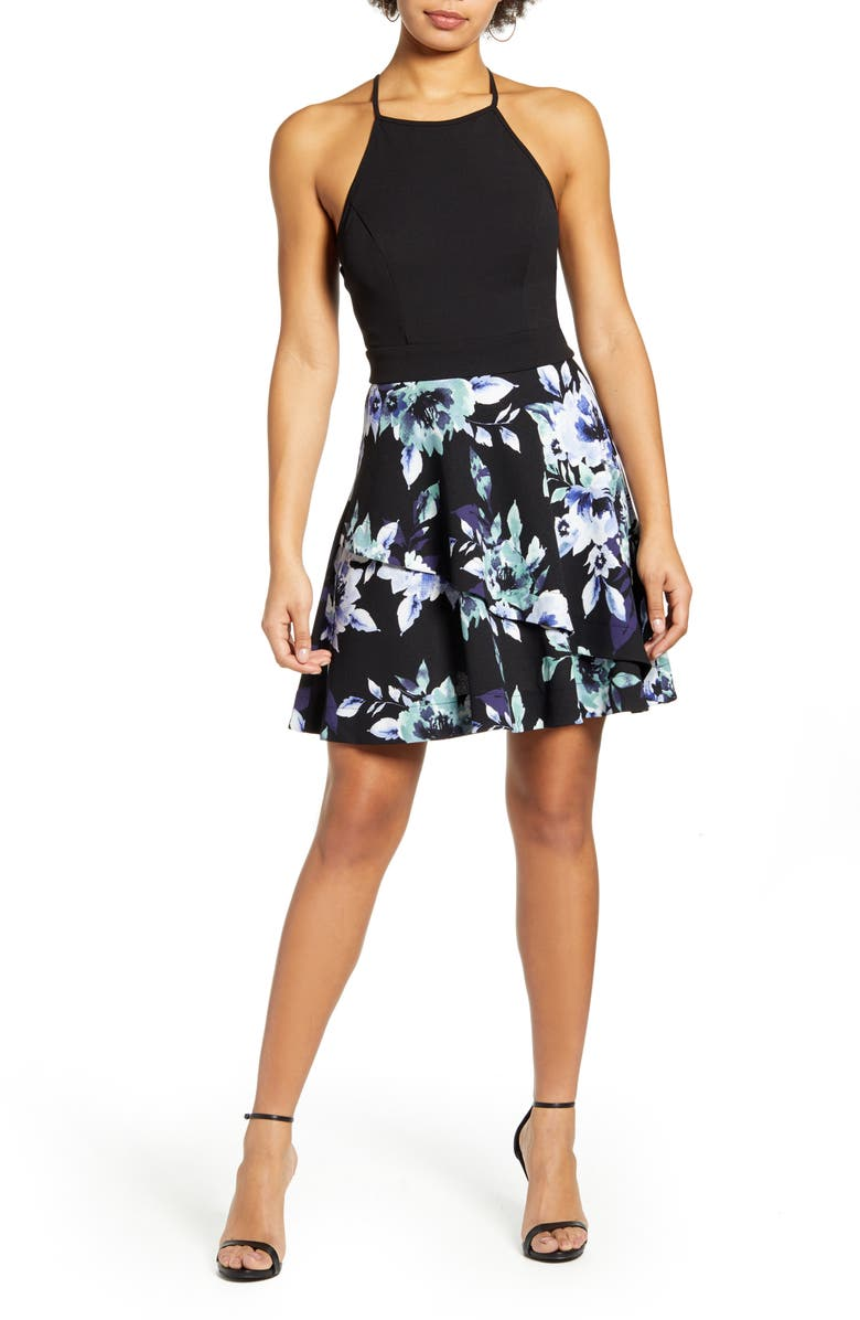 SPEECHLESS Floral Print Scuba Fit & Flare Minidress, Main, color, BLACK MINT