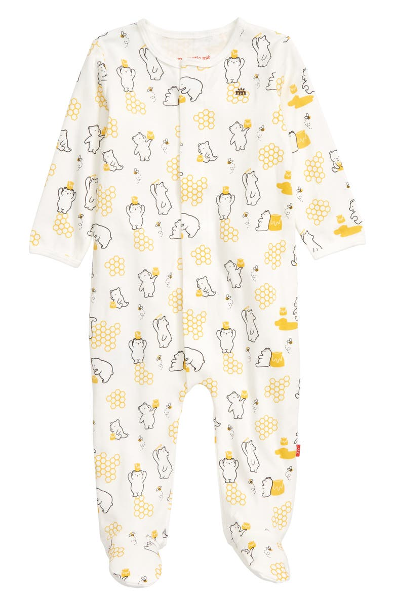 MAGNETIC ME Honey Bee Mine Organic Cotton Footie, Main, color, WHITE
