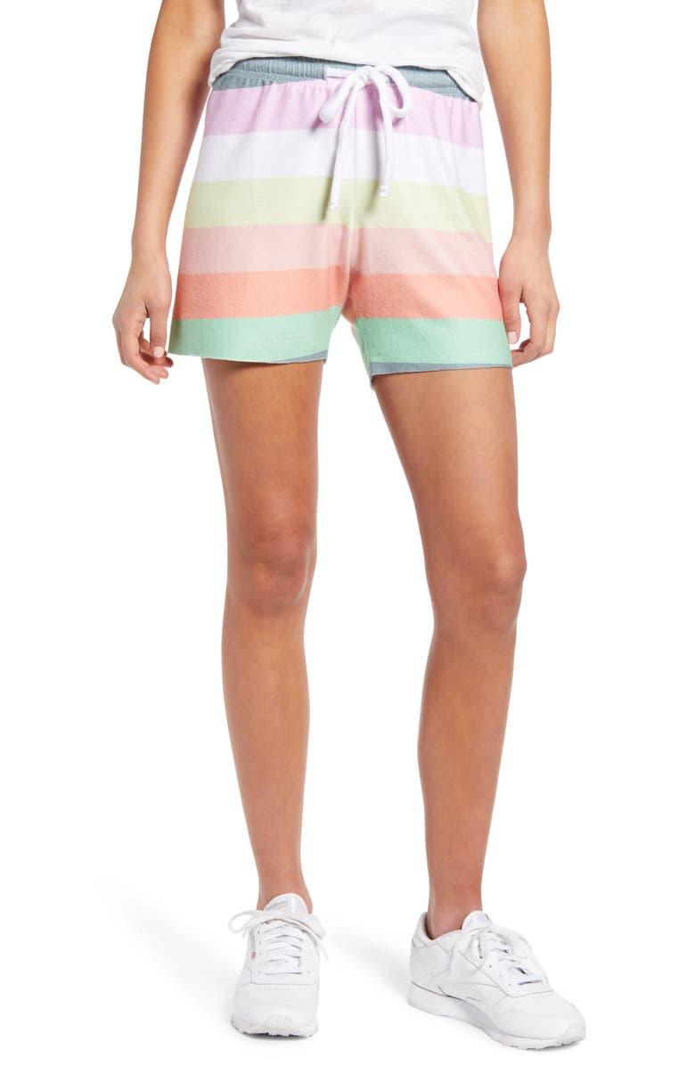WILDFOX Carter Rainbow Stripe Drawstring Shorts, Main, color, MULTI COLORED