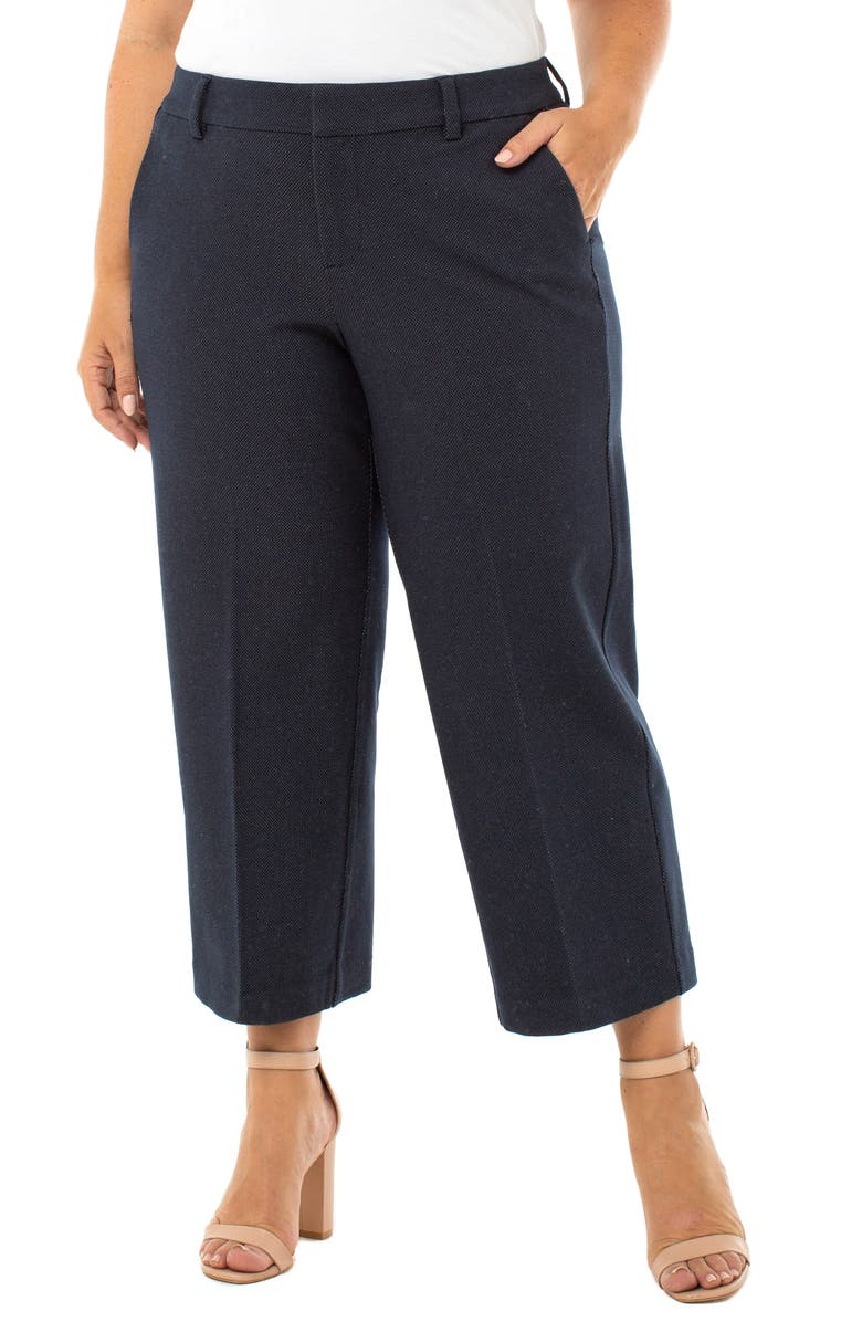 LIVERPOOL Kelsey Stovepipe Knit Crop Trousers, Main, color, NAVY