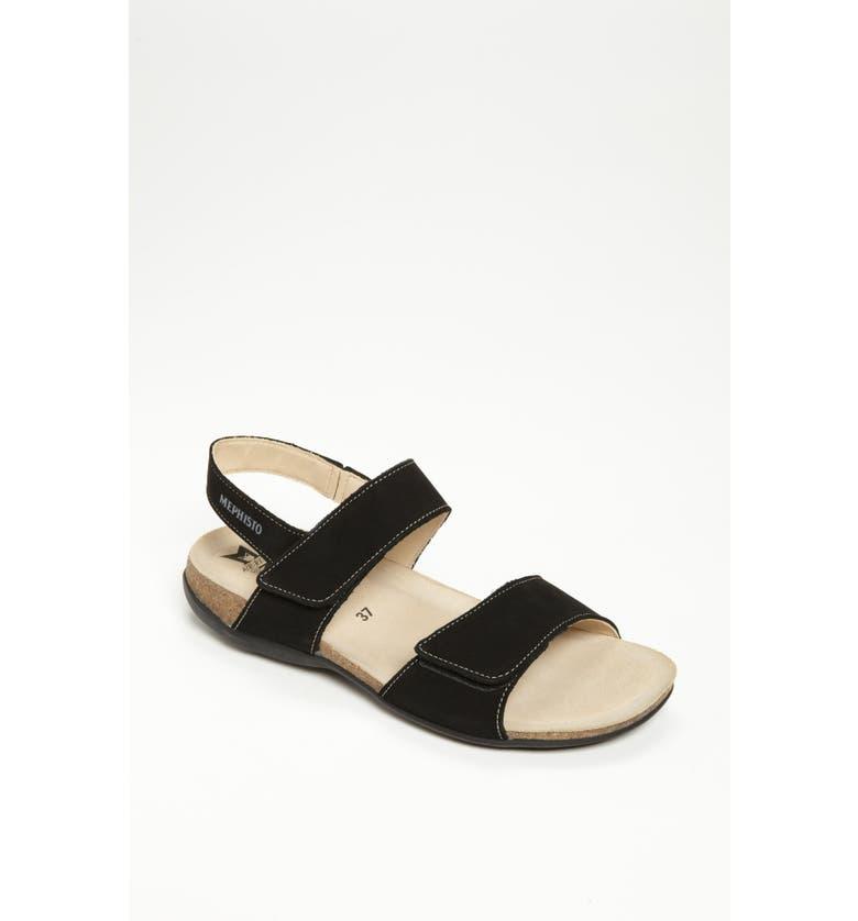 MEPHISTO 'Agave' Sandal, Main, color, BLACK BUCKSOFT