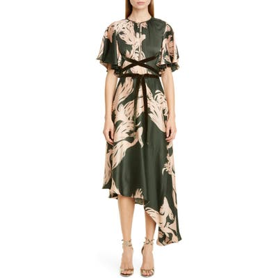 Johanna Ortiz Fish Print Asymmetrical Georgette Midi Dress, Green