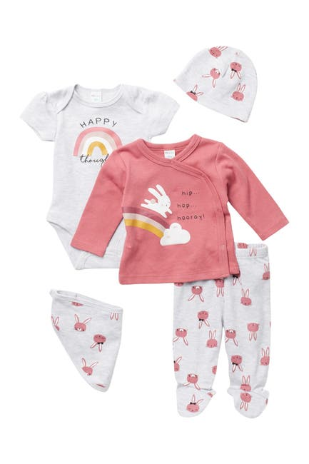 Image of Petit Lem 5-Piece Happy Thoughts Footie Set