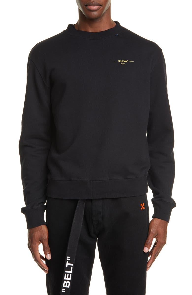 OFF-WHITE Slim Fit Crewneck Sweatshirt, Main, color, BLACK/ YELLOW