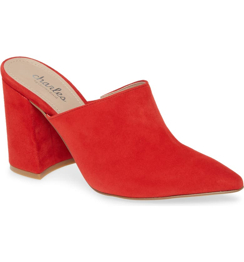 CHARLES BY CHARLES DAVID Valiant Mule, Main, color, HOT RED SUEDE