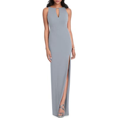 After Six Stretch Crepe Gown, Grey
