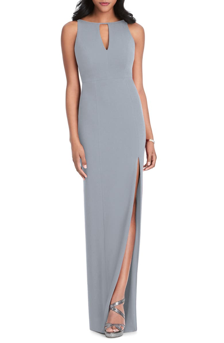 AFTER SIX Stretch Crepe Gown, Main, color, PLATINUM