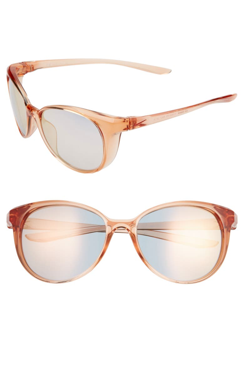 NIKE Essence 56mm Cat Eye Sunglasses, Main, color, WASHED CORAL/ LIGHT GOLD